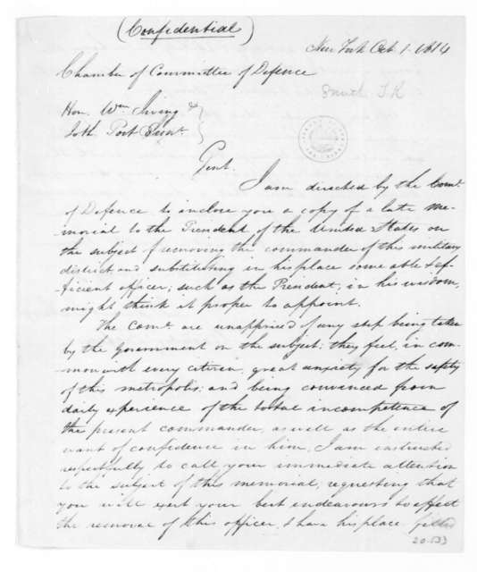 Thomas R. Smith to William Irving, October 1, 1814. Representing the New York City Defense Committee.