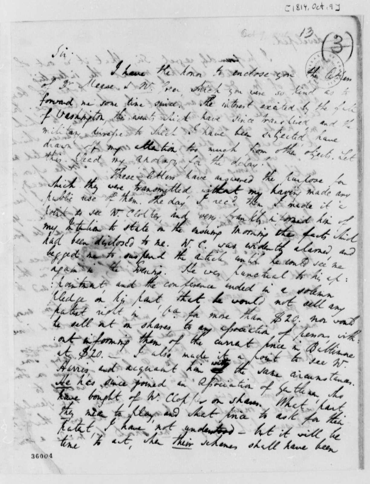 Thomas Ritchie to Thomas Jefferson, October 9, 1814