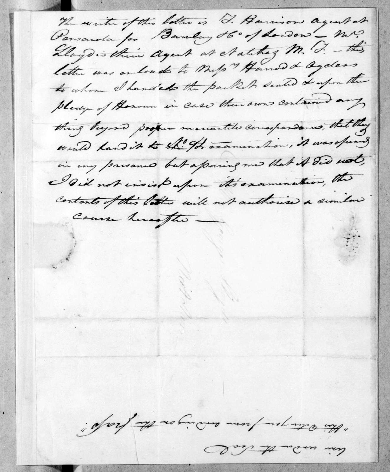 Unknown to G. Slayers, October 10, 1814
