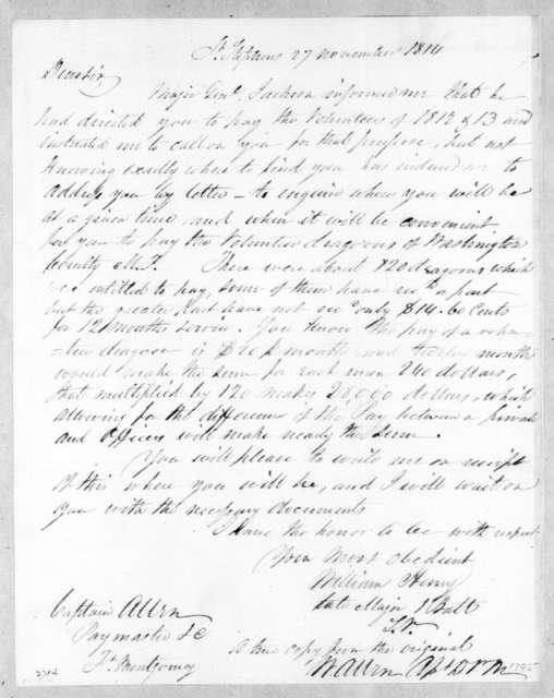 W. Henry to W. Allen, November 27, 1814