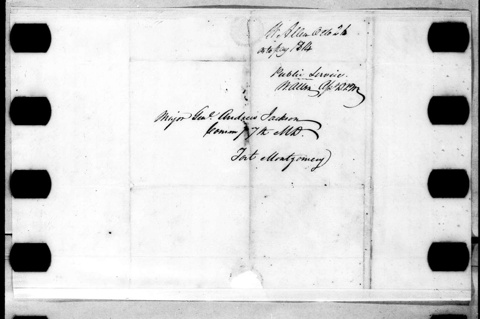 Waters Allen to Andrew Jackson, October 26, 1814