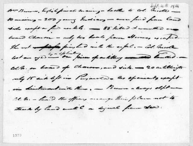 William Brown to John Nicoll, September 16, 1814