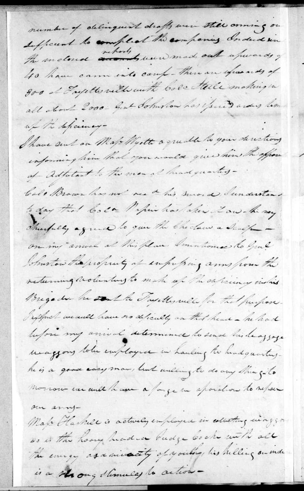 William Carroll to Andrew Jackson, February 9, 1814