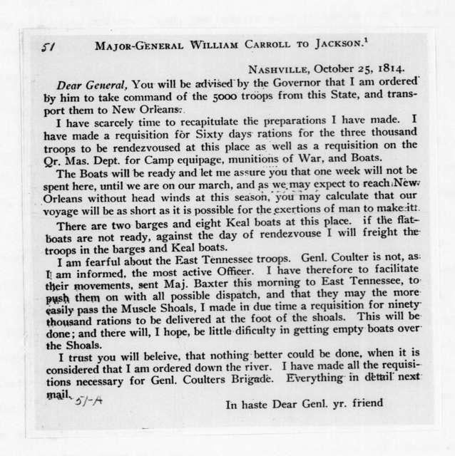 William Carroll to Andrew Jackson, October 25, 1814