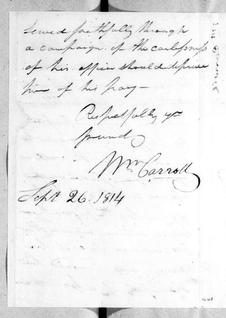 William Carroll to Robert Hays, September 26, 1814