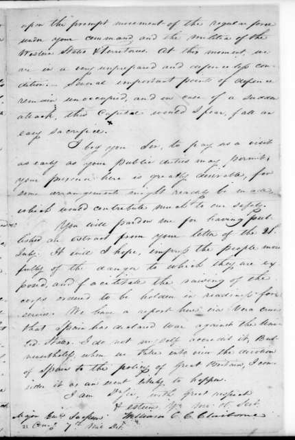 William Charles Cole Claiborne to Andrew Jackson, August 8, 1814