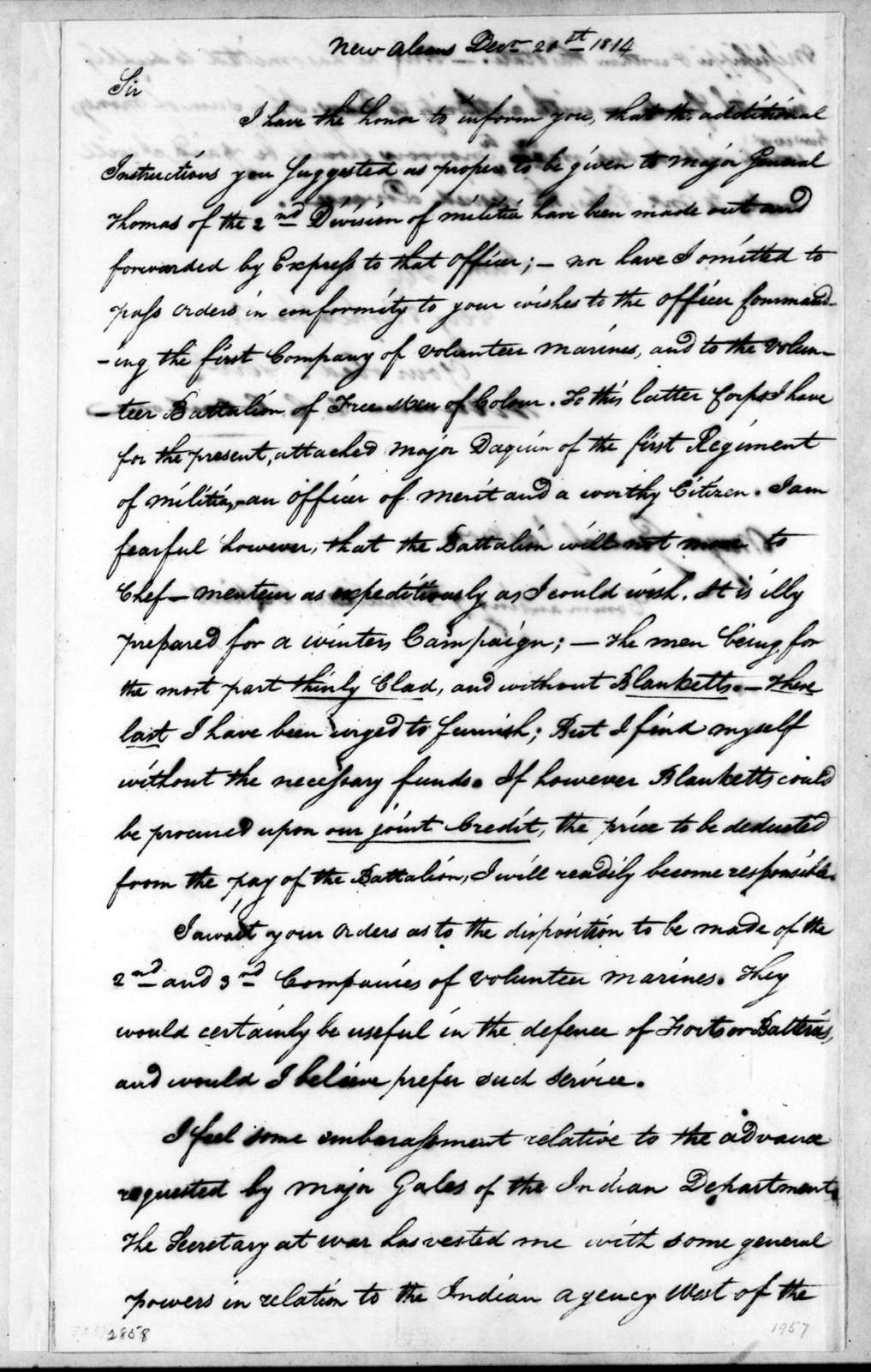 William Charles Cole Claiborne to Andrew Jackson, December 21, 1814