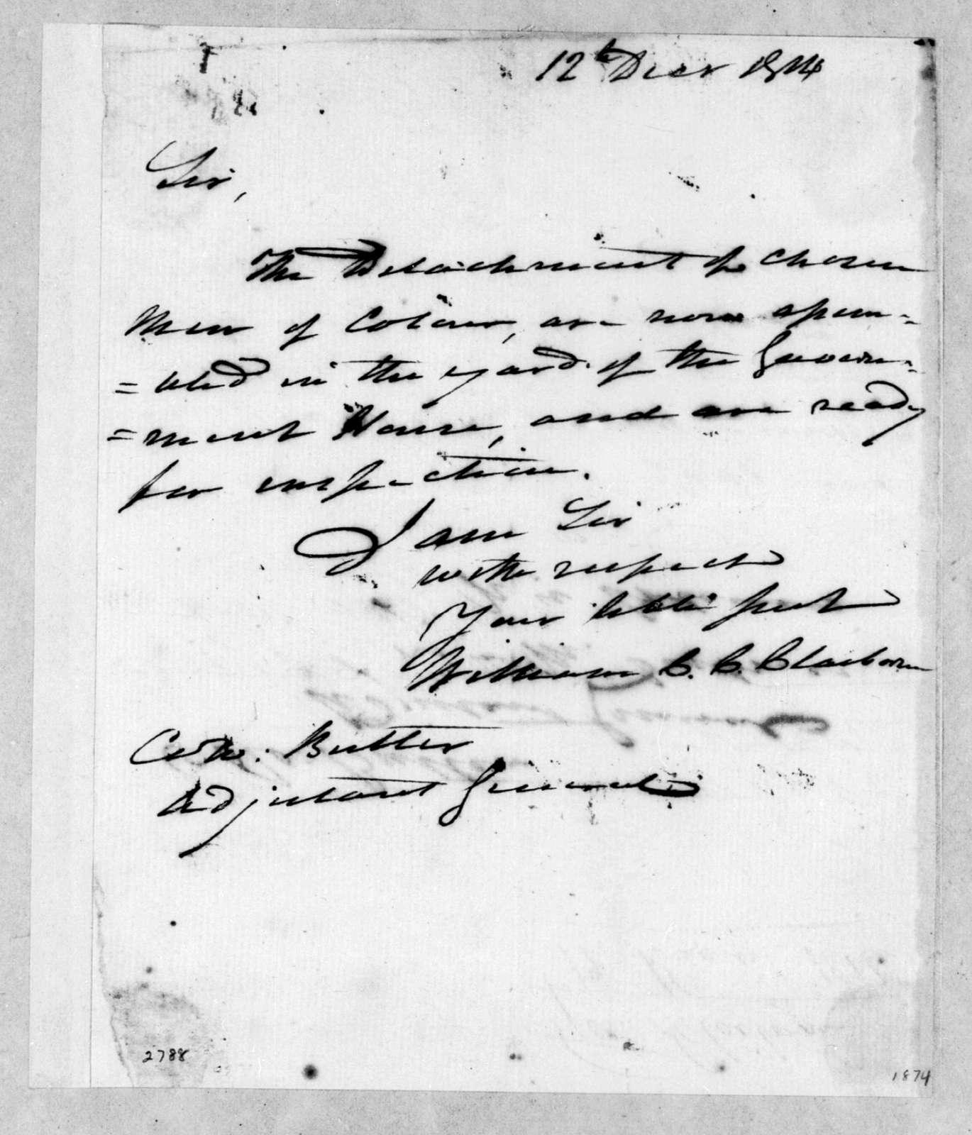 William Charles Cole Claiborne to Robert Butler, December 12, 1814