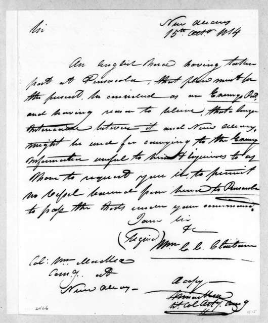 William Charles Cole Claiborne to William MacRea, October 15, 1814