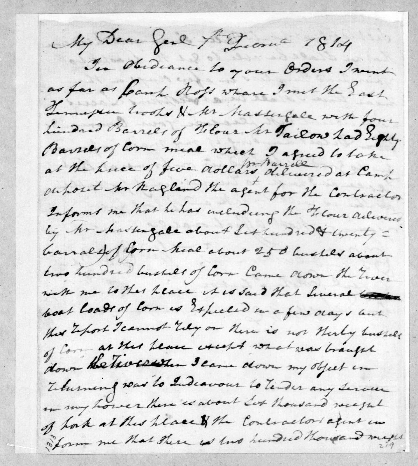 William Cocke to Andrew Jackson, February 7, 1814