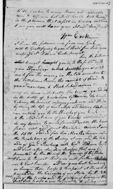 William Cocke to Thomas Jefferson, January 28, 1814