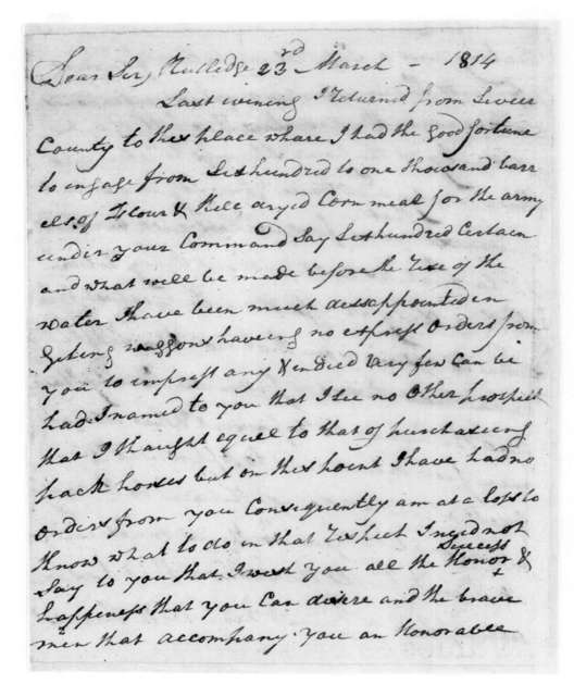 William Cockle to Andrew Jackson, March 23, 1814