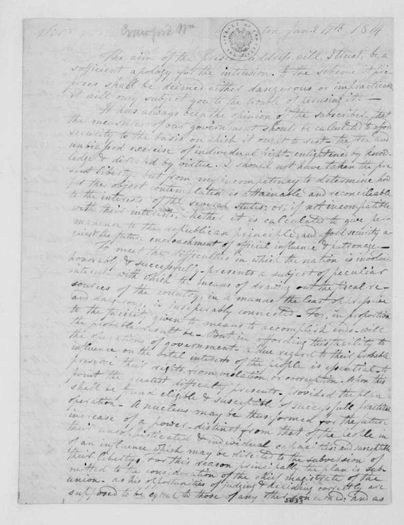 William Crawford to James Madison, January 17, 1814.