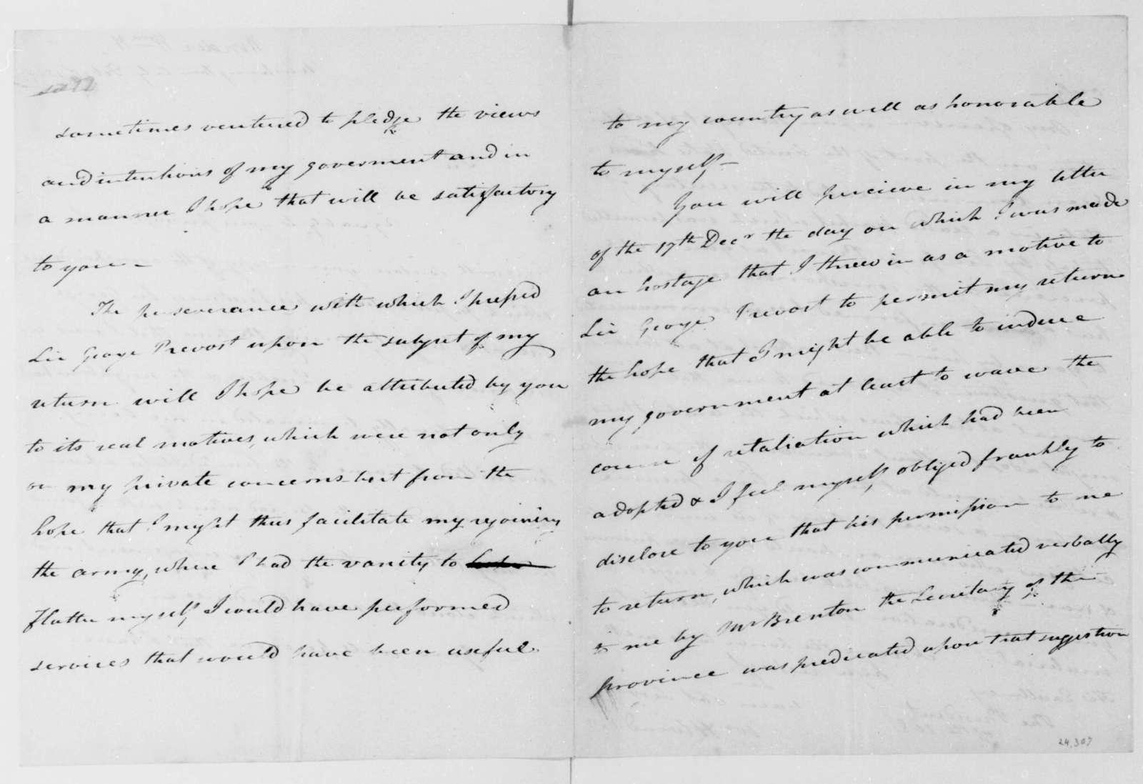 William H. Winder to James Madison, February 1, 1814.