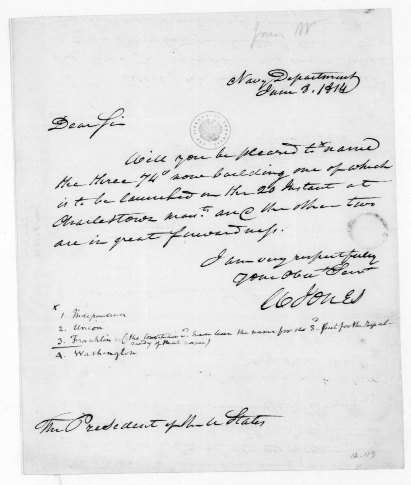 William Jones to James Madison, June 8, 1814. With Notes by James Madison.