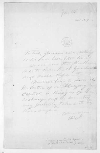 William Jones to James Madison, September, 1814.