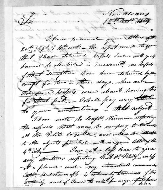 William MacRea to Andrew Jackson, October 12, 1814