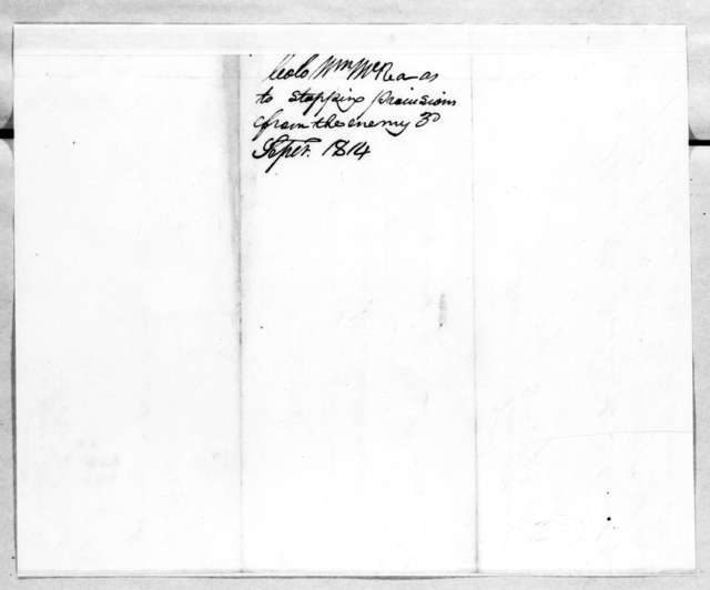 William MacRea to Andrew Jackson, September 3, 1814