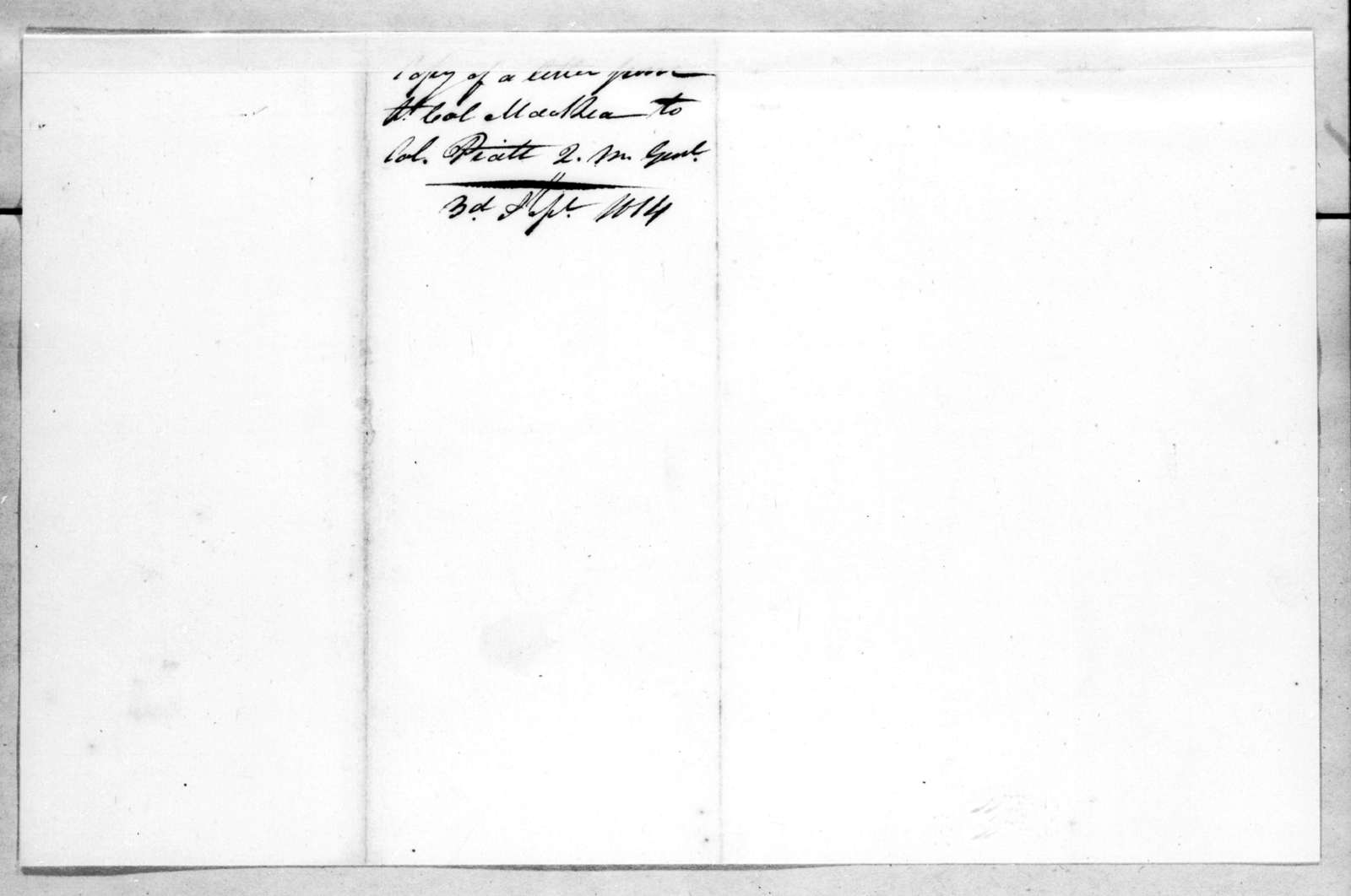 William MacRea to William Pratt, September 3, 1814