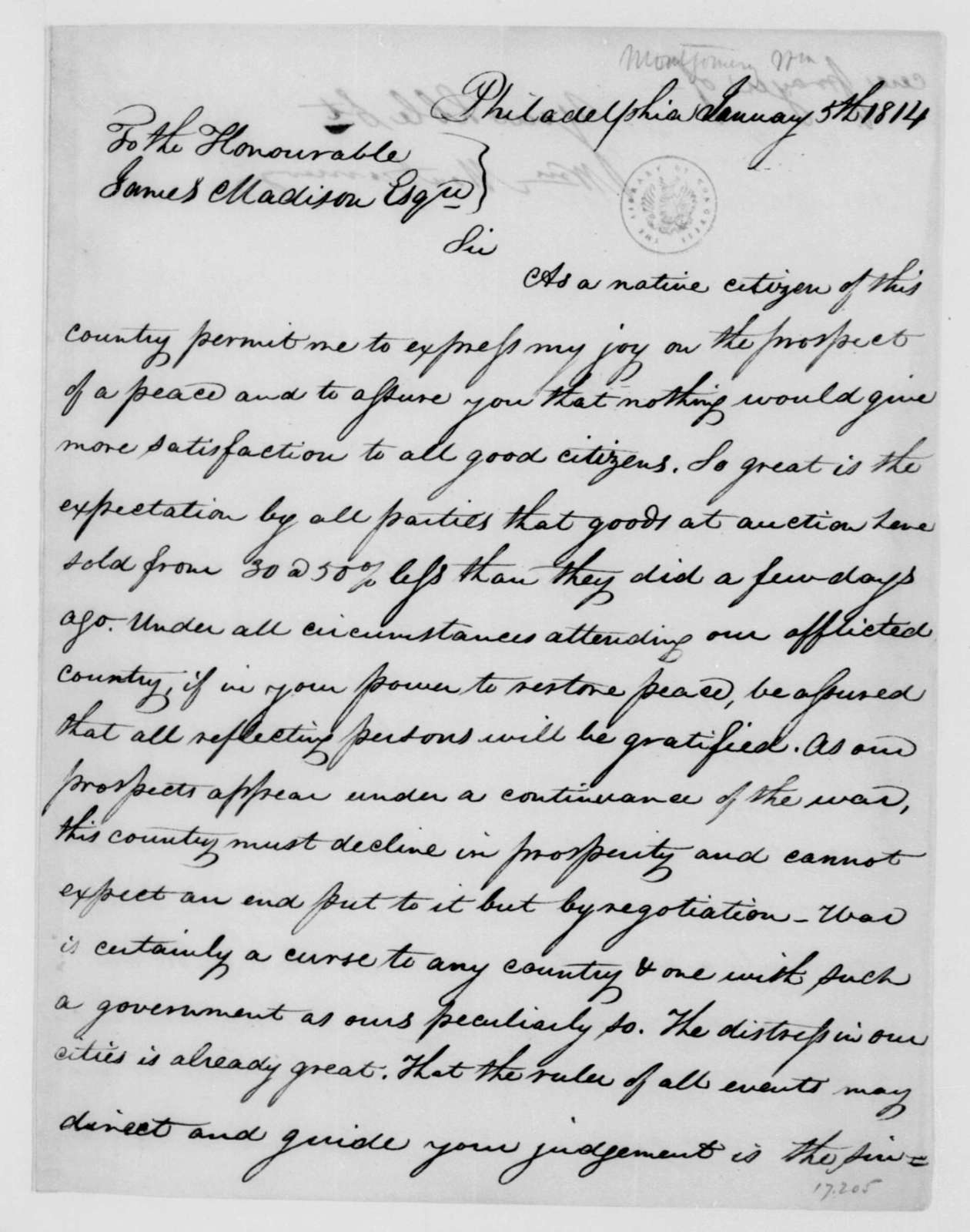 William Montgomery to James Madison, January 5, 1814.