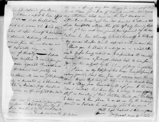 William Peacock to Andrew Jackson, July 14, 1814