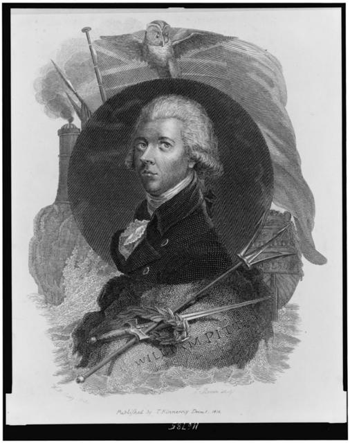 [William Pitt, head-and-shoulders portrait, in disc superimposed over flag with owl, ship (Nelson), rock with sword, pike, and laurel crown, and tower on rock] / W.M. Craig, del. ; T. Brown, sculp.