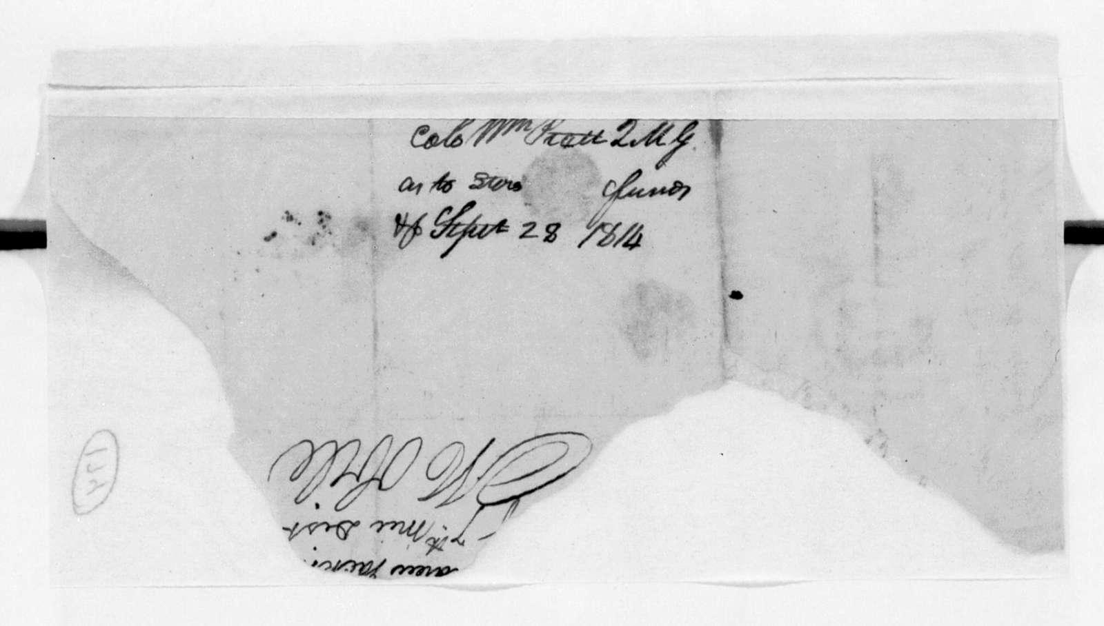 William Pratt to Andrew Jackson, September 28, 1814