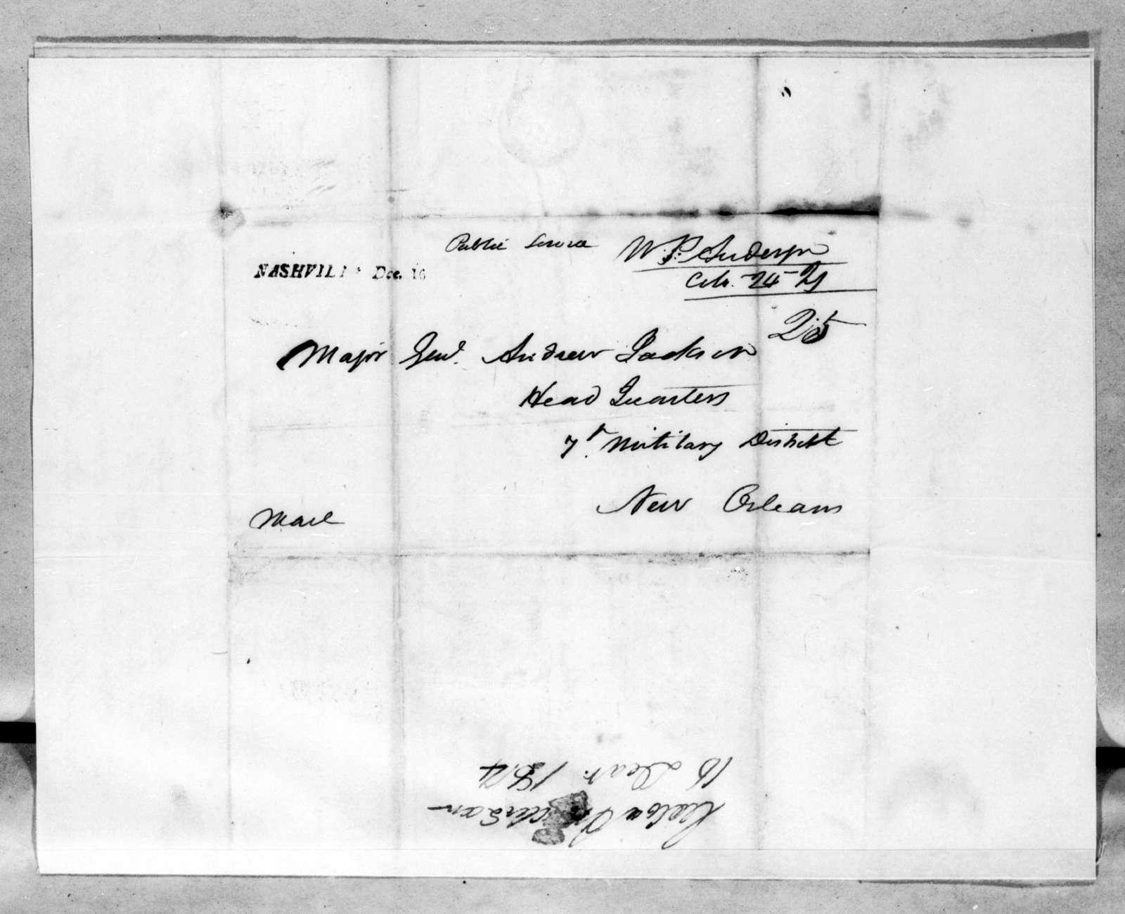 William Preston Anderson to Andrew Jackson, December 16, 1814