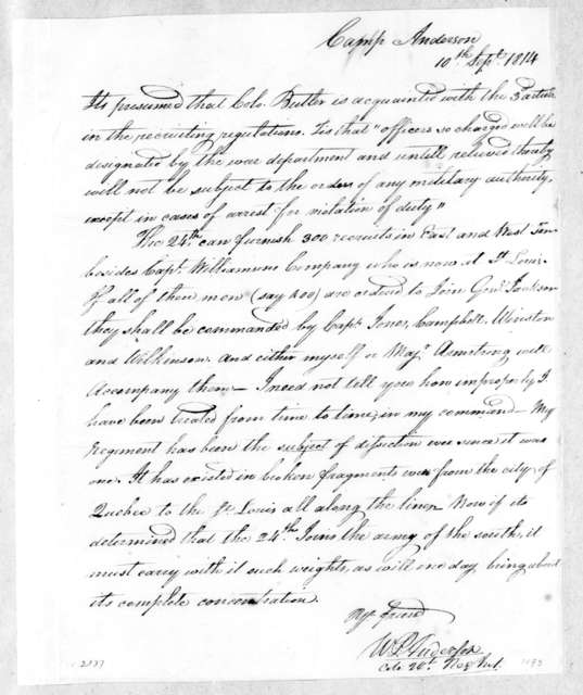 William Preston Anderson to Robert Butler, September 10, 1814