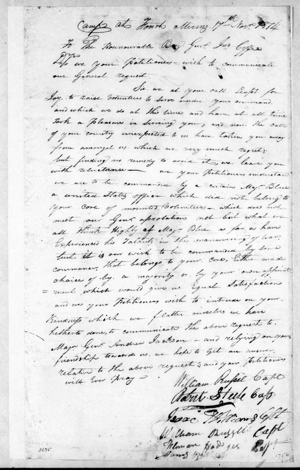William Russell et al. to John Coffee, November 17, 1814