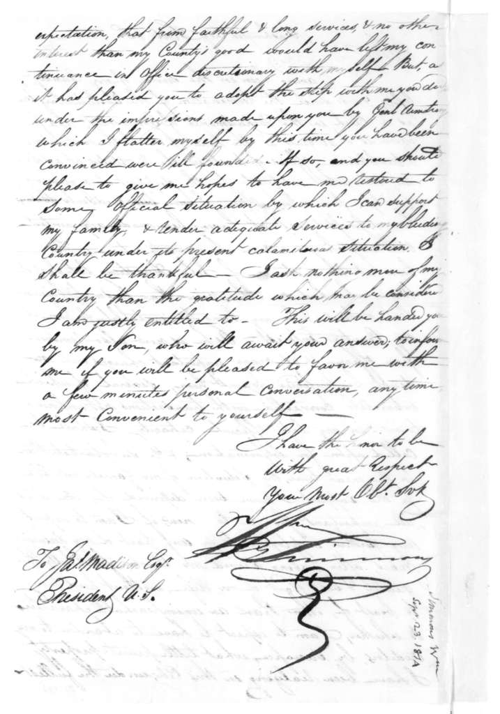 William Simmons to James Madison, September 23, 1814.