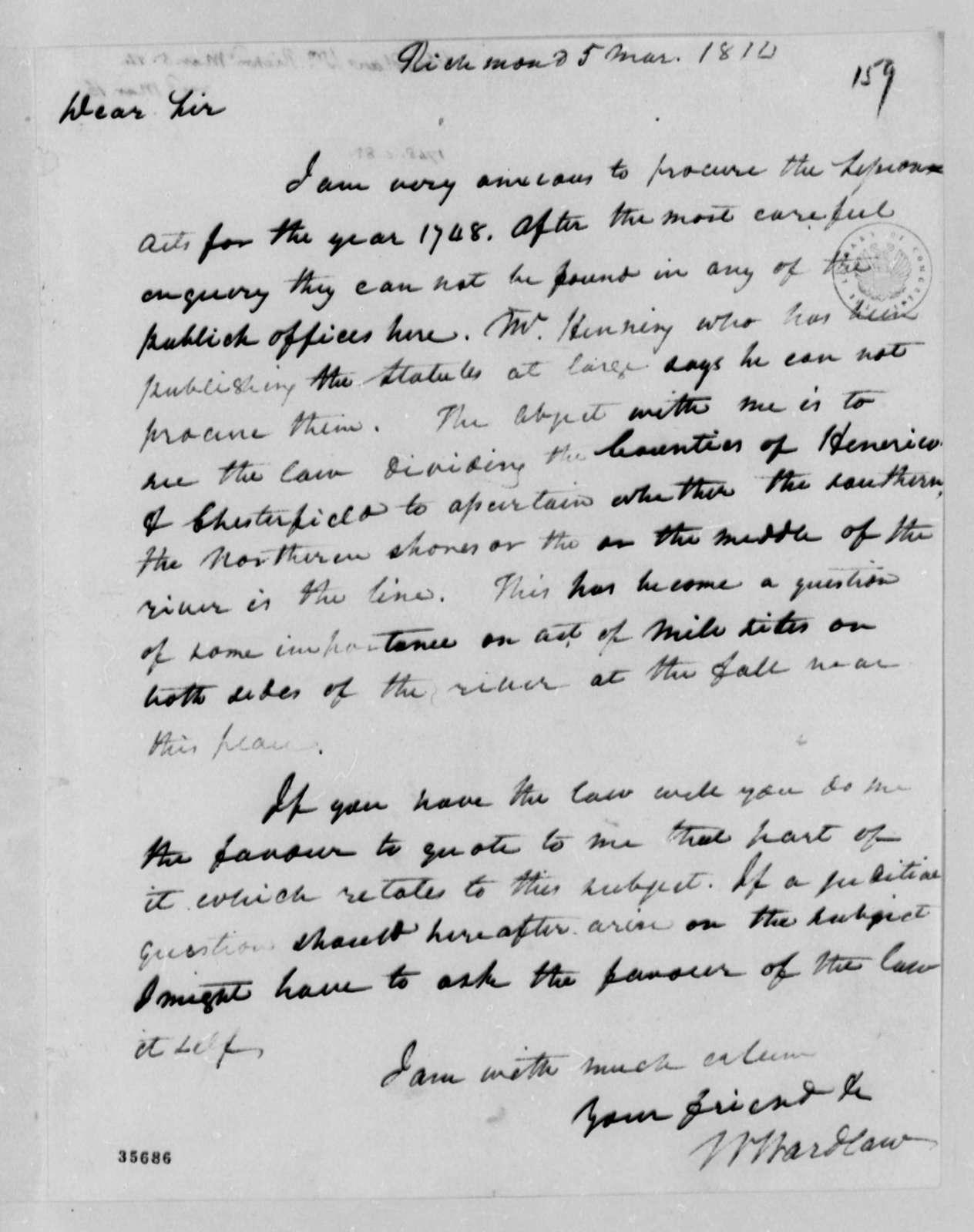 William Wardlaw to Thomas Jefferson, March 5, 1814