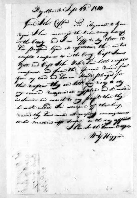 William Y. Higgins to John Coffee, September 22, 1814