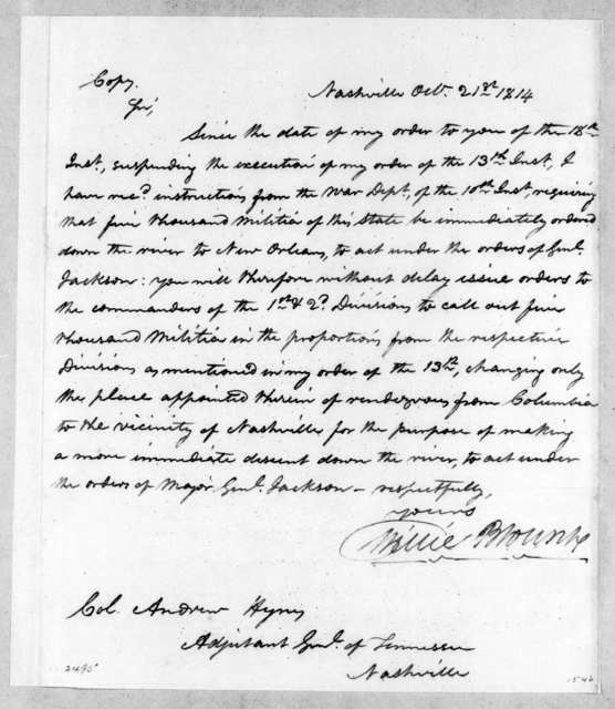 Willie Blount to Andrew Hynes, October 21, 1814