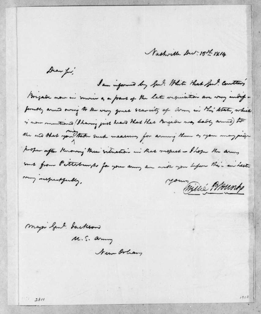 Willie Blount to Andrew Jackson, December 16, 1814