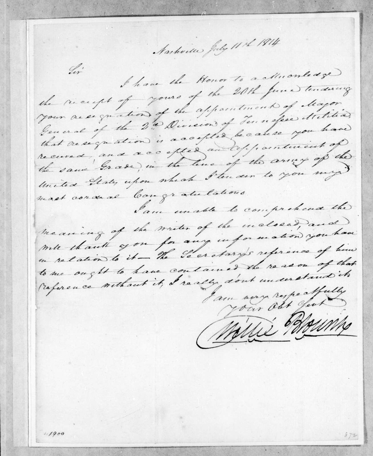 Willie Blount to Andrew Jackson, July 11, 1814