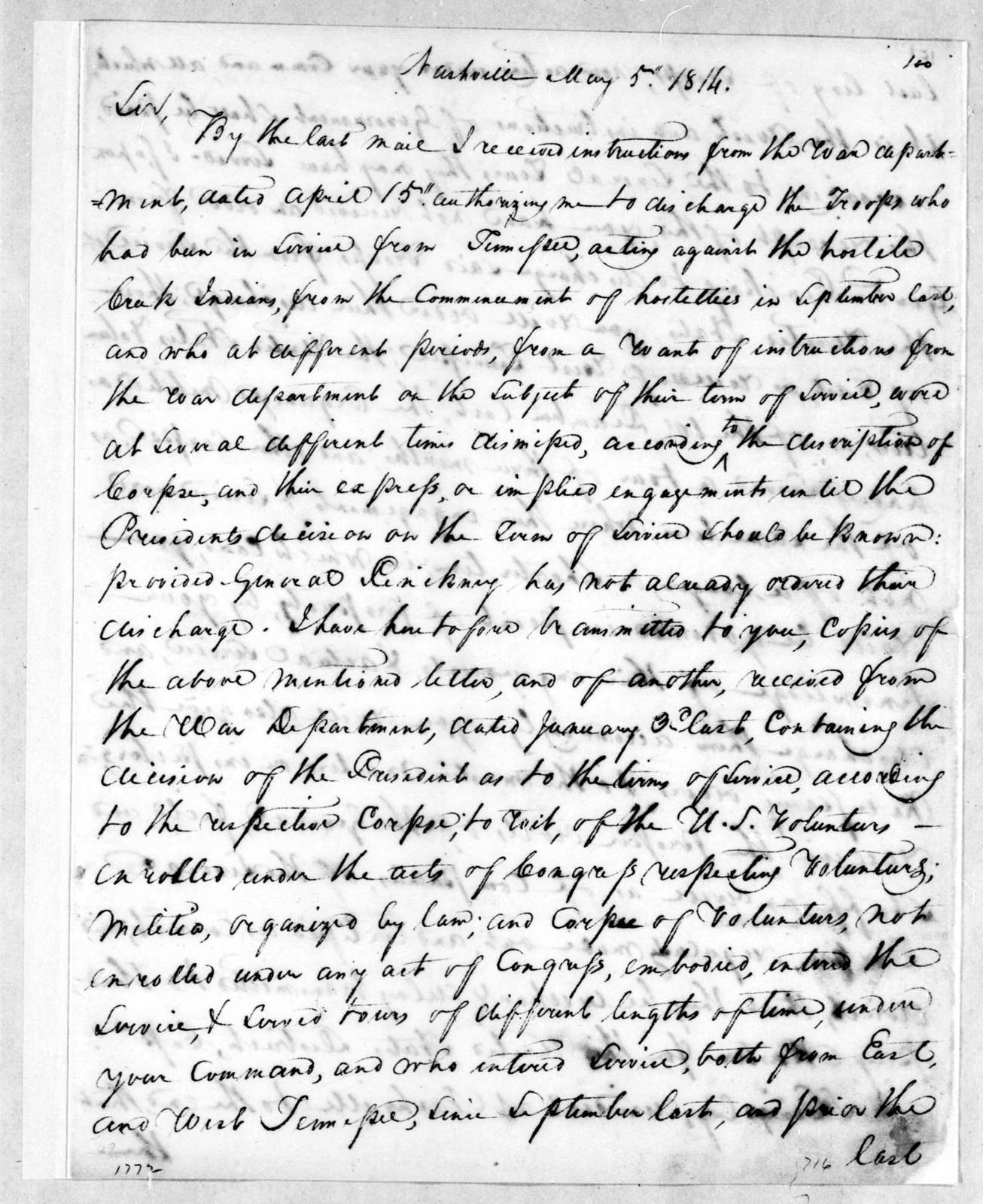 Willie Blount to Andrew Jackson, May 5, 1814