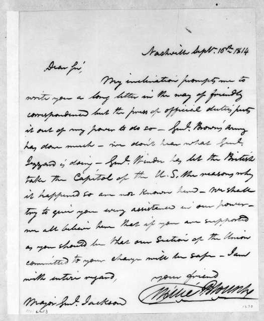 Willie Blount to Andrew Jackson, September 16, 1814