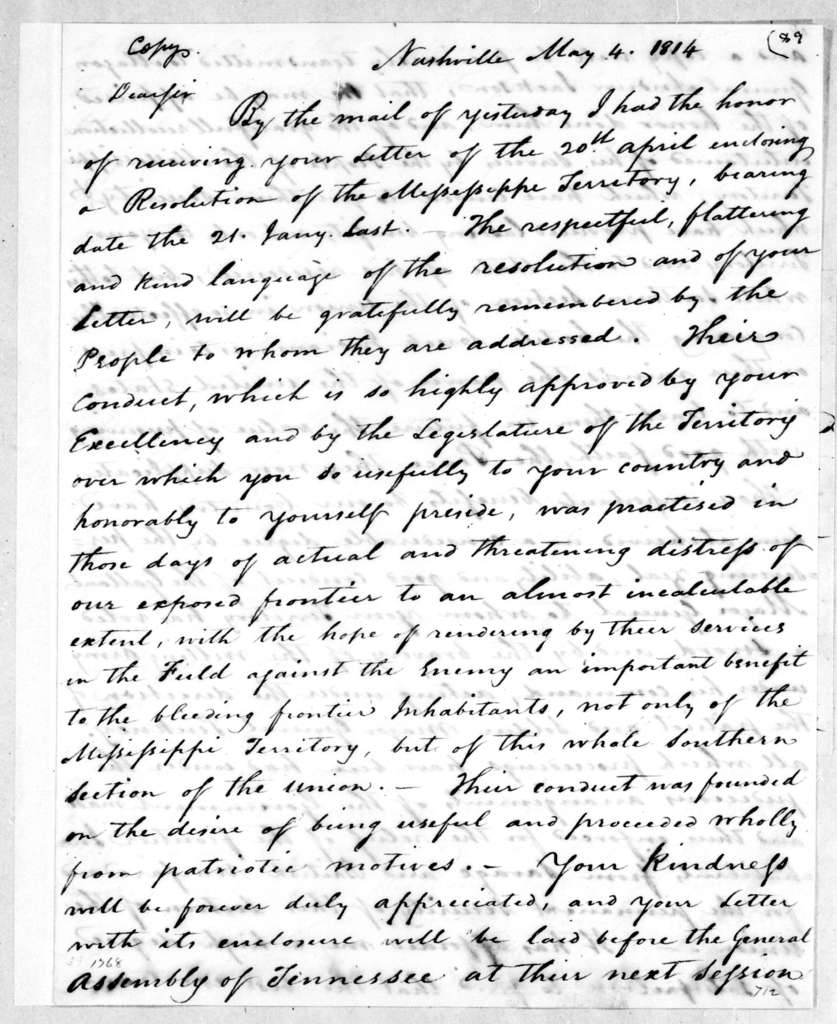 Willie Blount to David Holmes, May 4, 1814