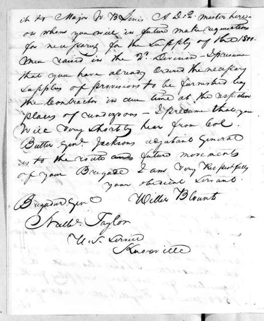 Willie Blount to Nathanial Taylor, September 9, 1814