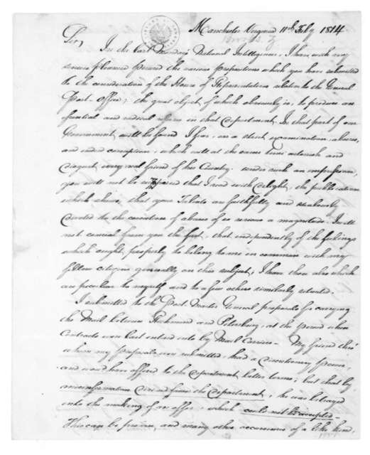 Zachariah Brooks to Charles J. Ingersoll, February 11, 1814. [Index: 11th; notes from film, 10th- Laura].