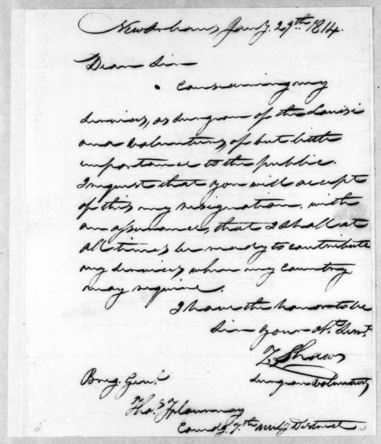 Zacheus Shaw to Thomas Flournoy, January 29, 1814