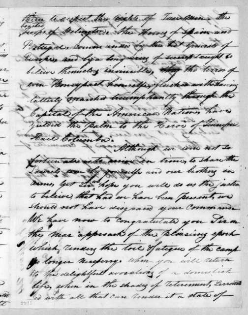 24th Infantry Regiment to Andrew Jackson, March 15, 1815