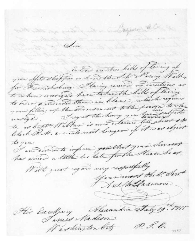 A. C. Cazenove to James Madison, July 19, 1815.