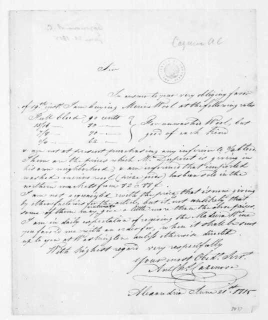 A. C. Cazenove to James Madison, June 21, 1815.