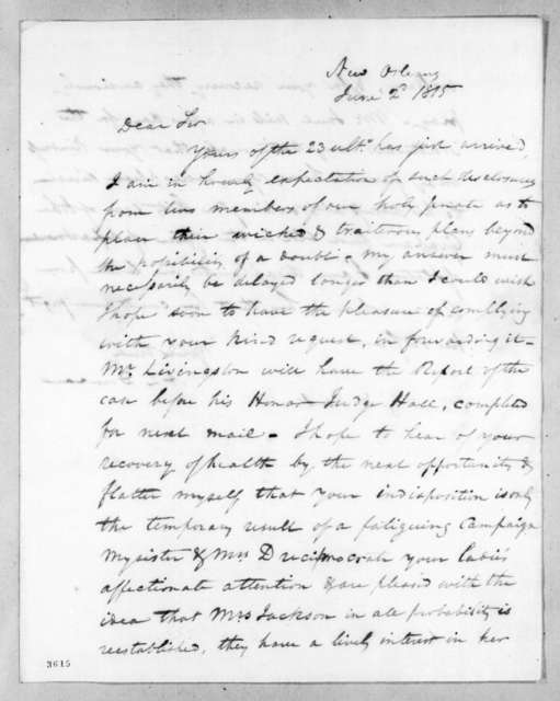 Abner Lawson Duncan to Andrew Jackson, June 2, 1815