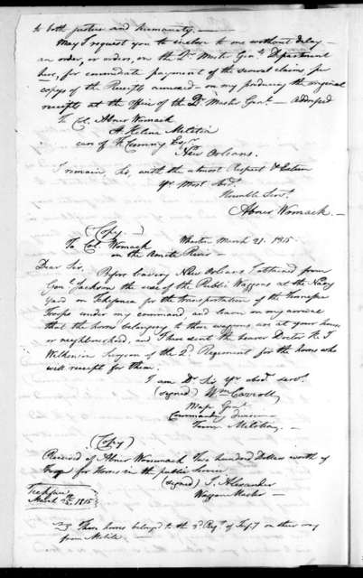 Abner Womack to Andrew Jackson, June 17, 1815