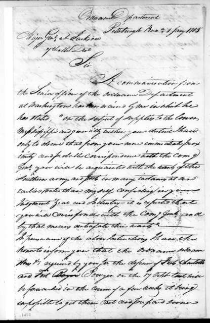 Abram R. Woolley to Andrew Jackson, January 1, 1815
