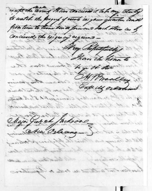 Abram R. Woolley to Andrew Jackson, January 11, 1815