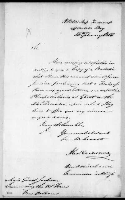 Alexander Cochrane to Andrew Jackson, February 13, 1815